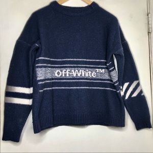 OFF-WHITE • INTARSIA DESTROYED WOOL SWEATER